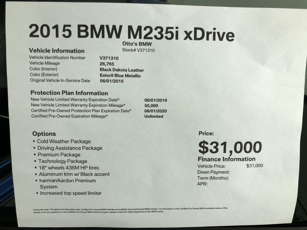 Certified Pre-Owned 2015 BMW 2 Series M235i xDrive