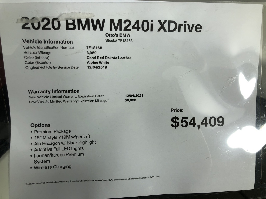 Pre-Owned 2020 BMW 2 Series M240i xDrive