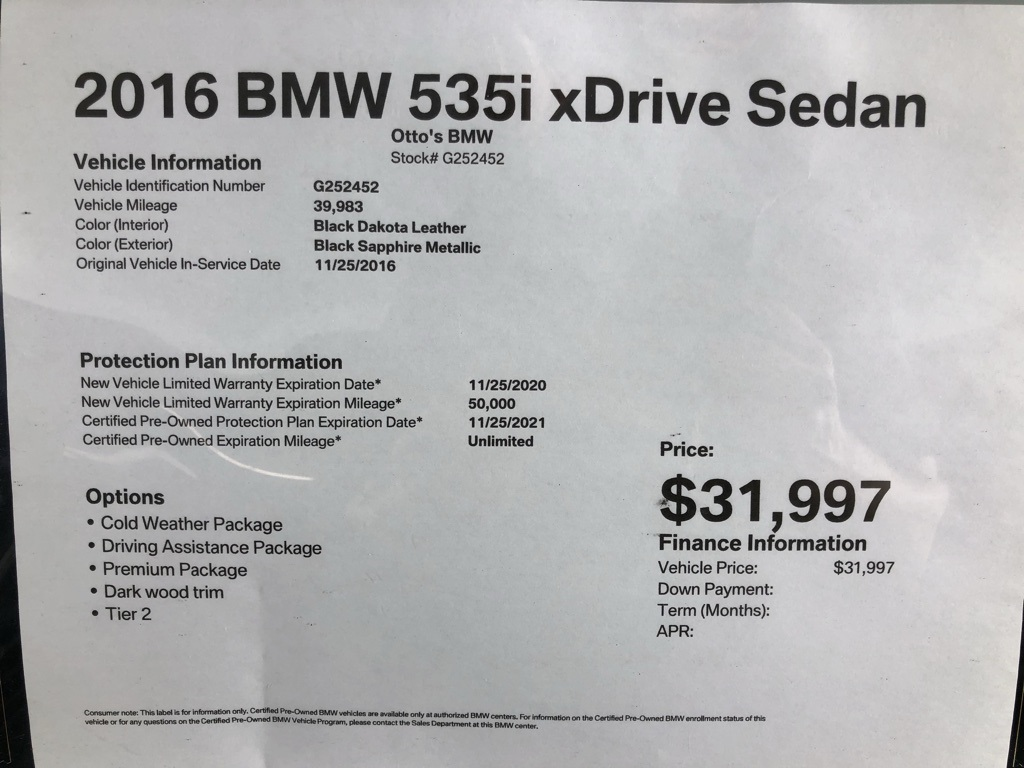 Certified Pre-Owned 2016 BMW 5 Series 535i xDrive