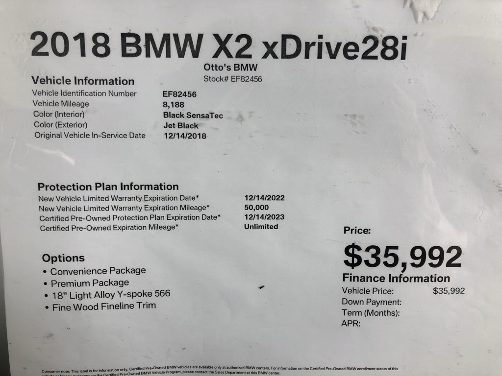 Certified Pre-Owned 2018 BMW X2 xDrive28i
